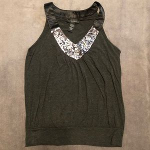 Gray Tank with Sequins